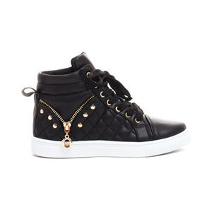 Shoes - Quilted Zipper Lace Up High Top Sneakers